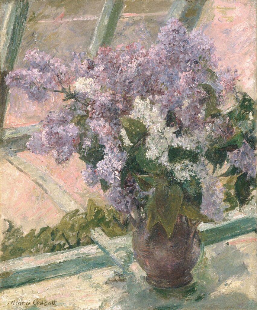 ดอกไม้ในงานศิลปะ lilacs in a window