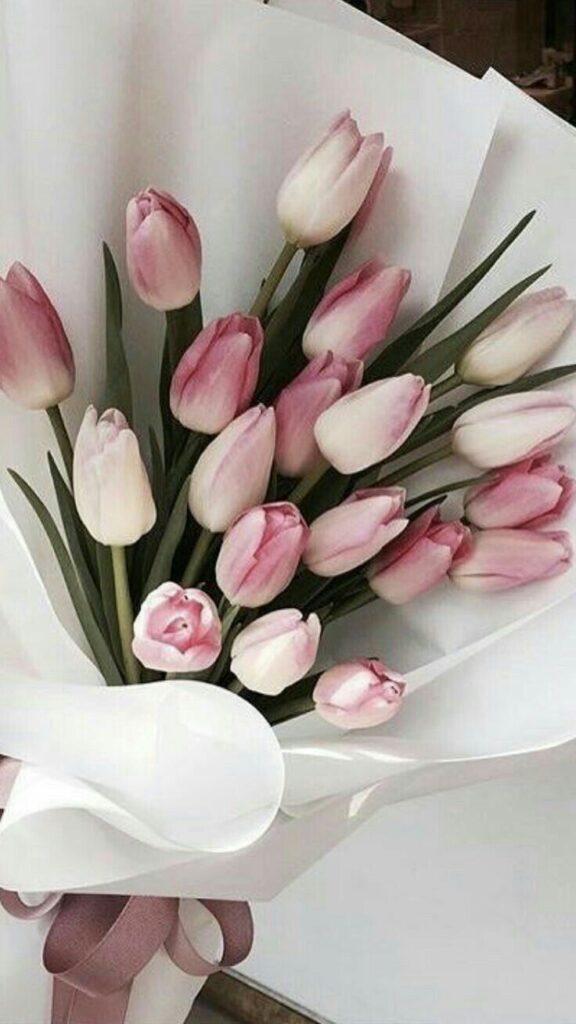 ช่อดอกไม้โรแมนติก ทิวลิปไล่สี