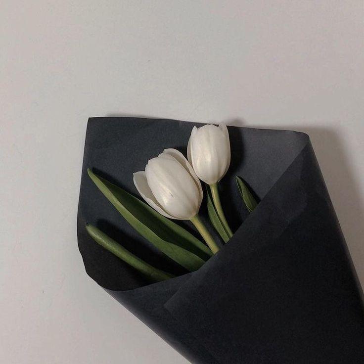 ช่อดอกไม้มินิมอล ทิวลิปขาว กระดาษดำ
